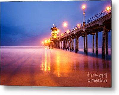 Huntington Beach Pier At Sunrise Metal Print