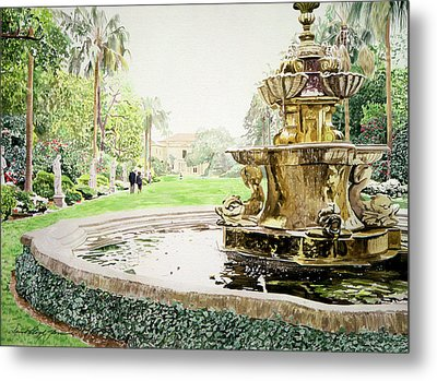 Huntington Fountain Morning Mist Metal Print by David Lloyd Glover