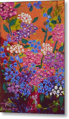 Metal Print featuring the painting Hydrangea Collage by Angela Annas