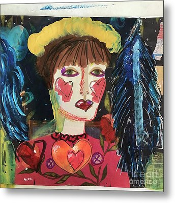 Metal Print featuring the painting I Carry Your Heart In My Heart by Kim Nelson