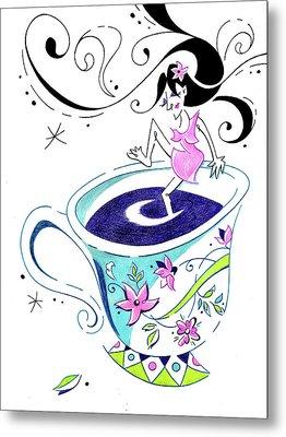 I Love Coffee - Art Book Illustration Metal Print