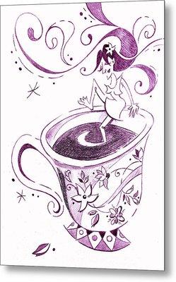 I Love Coffee Illustration - Arte Caffe Metal Print