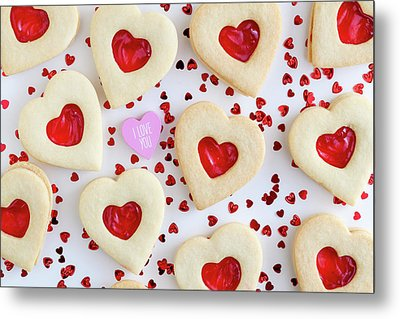 Metal Print featuring the photograph I Love You Heart Cookies by Teri Virbickis