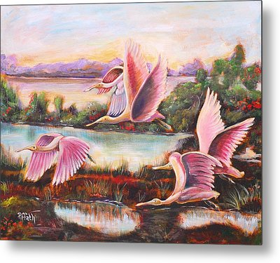 Metal Print featuring the painting Scarlet Ibis by Patricia Piffath