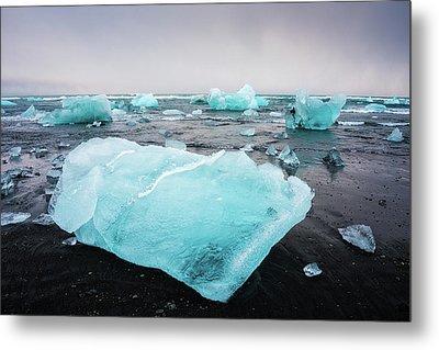 Metal Print featuring the photograph Iceberg Pieces In Iceland Jokulsarlon by Matthias Hauser