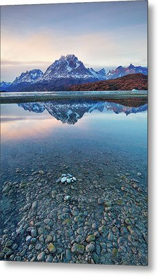 Icebergs And Mountains Of Torres Del Paine National Park Metal Print by Phyllis Peterson