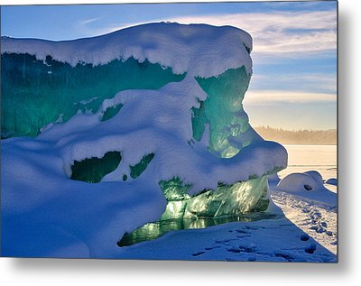 Iceberg's Glow - Mendenhall Glacier Metal Print by Cathy Mahnke