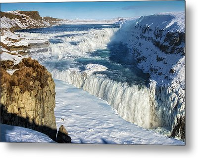 Iceland Gullfoss Waterfall In Winter With Snow Metal Print by Matthias Hauser