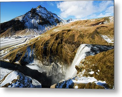 Iceland Landscape With Skogafoss Waterfall Metal Print by Matthias Hauser