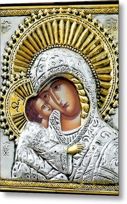 Icon Of The Bl Virgin Mary W Christ Child Metal Print