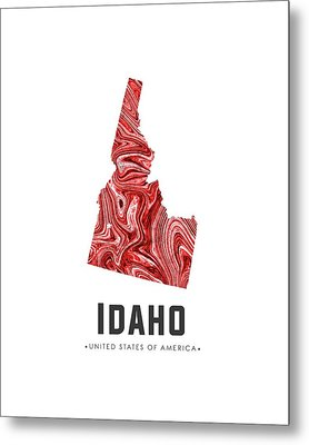 Idaho Map Art Abstract In Red Metal Print