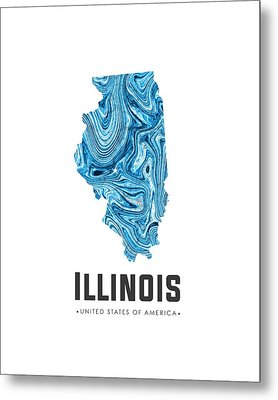 Illinois Map Art Abstract In Blue Metal Print