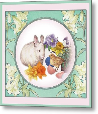 Illustrated Bunny With Easter Floral Metal Print