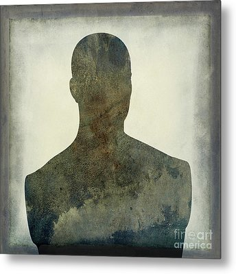 Illustration Of A Human Bust. Silhouette Metal Print by Bernard Jaubert