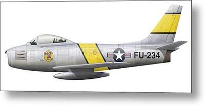 Illustration Of A North American F-86f Metal Print by Chris Sandham-Bailey