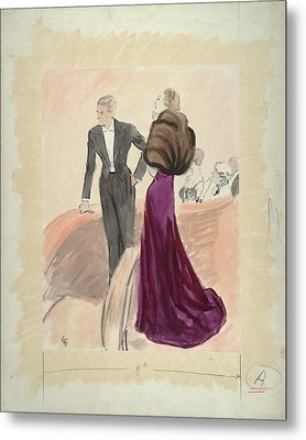 Illustration Of A Woman And Man Dressed Metal Print