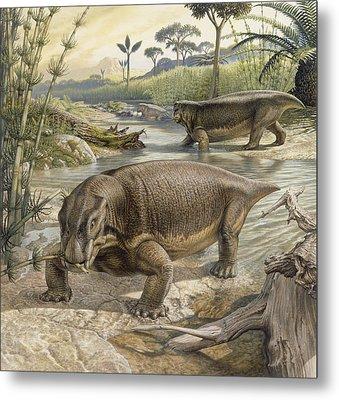Illustration Of Lystrosaurus Metal Print by John Sibbick