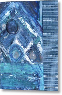 Impressionistic Blues With Buttons Metal Print by Anne-Elizabeth Whiteway
