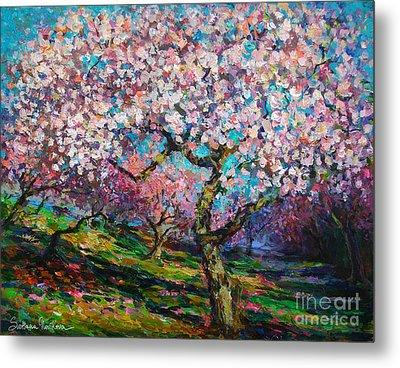 Impressionistic Spring Blossoms Trees Landscape Painting Svetlana Novikova Metal Print by Svetlana Novikova