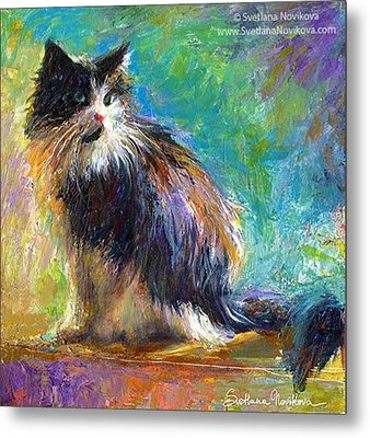 Impressionistic Tuxedo Cat Painting By Metal Print