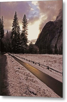 In Between Snow Falls Metal Print