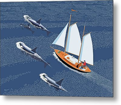 In The Company Of Whales Metal Print by Gary Giacomelli