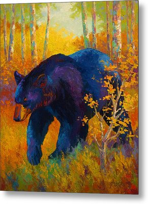 In To Spring - Black Bear Metal Print by Marion Rose