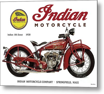Indian 101 Scout, 1928, Motorcycle Sign, Vintage, Original Art Metal Print