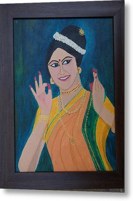 Indian Beauty Metal Print by Shweta Singh