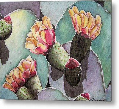 Indian Fig Cactus Metal Print by Regina Ammerman