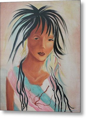 Indian Girl Metal Print by Suzanne  Marie Leclair