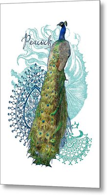 Indian Peacock Henna Design Paisley Swirls Metal Print by Audrey Jeanne Roberts