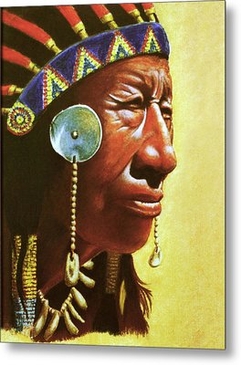 Indian Portrait Metal Print by Martin Howard