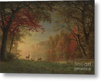 Indian Sunset Deer By A Lake Metal Print by Albert Bierstadt