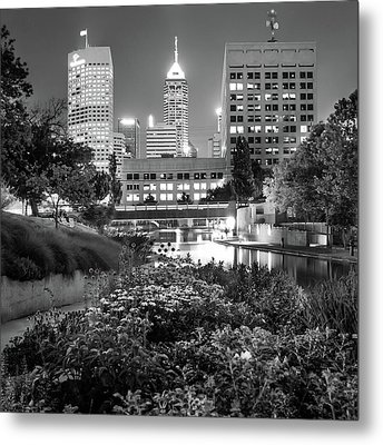 Indianapolis Canal Walk Skyline Black And White 1x1  Metal Print
