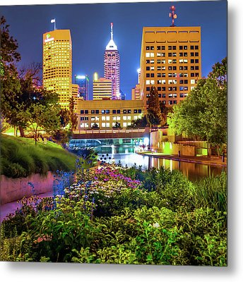 Indianapolis Canal Walk Skyline Vibrant Color 1x1  Metal Print by Gregory Ballos