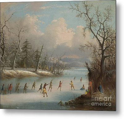Indians Playing Lacrosse On The Ice, 1859 Metal Print by Edmund C Coates