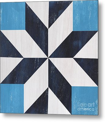 Indigo And Blue Quilt Metal Print