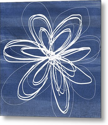 Indigo And White Flower- Art By Linda Woods Metal Print