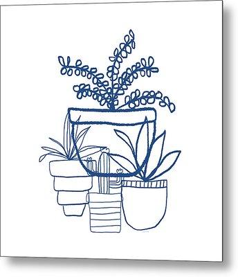 Indigo Potted Succulents- Art By Linda Woods Metal Print