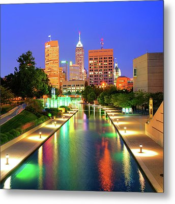 Indy City Skyline - Indianapolis Indiana Color 1x1 Metal Print by Gregory Ballos