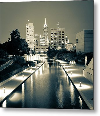 Indy City Skyline - Indianapolis Indiana Sepia 1x1 Metal Print by Gregory Ballos