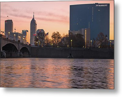 Indy Skyline On The River - Indianapolis Morning Metal Print