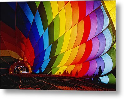 Inflating A Hot Air Balloon Metal Print