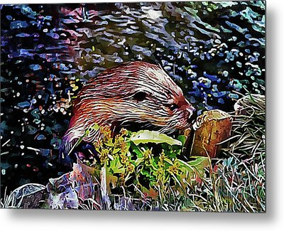 Inquisitive Otter Metal Print