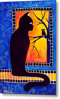 Insomnia - Cat And Owl Art By Dora Hathazi Mendes Metal Print by Dora Hathazi Mendes