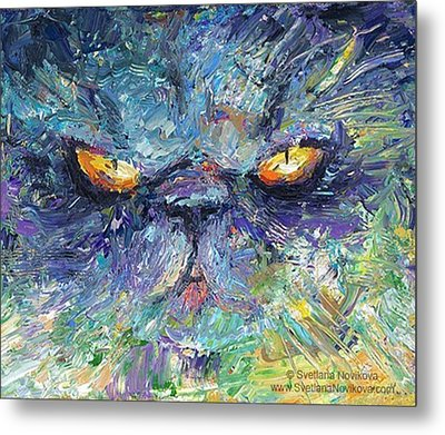 Intense Palette Knife  Persian Cat Metal Print