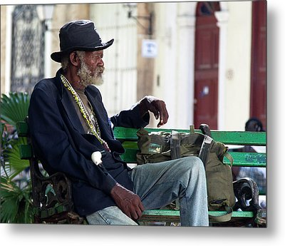 Interesting Cuban Gentleman In A Park On Obrapia Metal Print by Charles Harden