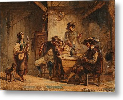 Interior Scene With A Lute Player Metal Print