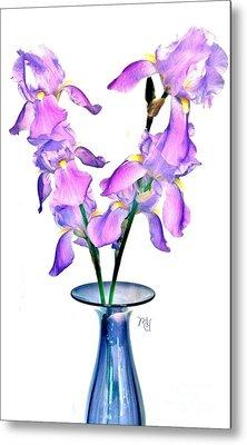 Iris Still Life In A Vase Metal Print by Marsha Heiken